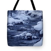 Beautiful Creek In Winter In Stanley Idaho Tote Bag