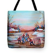 Beautiful Day For Pond Hockey Winter Landscape Painting  Tote Bag