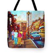Beautiful  Downtown City Stroll  Cafe Paintings Montreal Restaurants On Crescent Street C Spandau Tote Bag