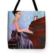 Beautiful Girl Playing Piano Tote Bag