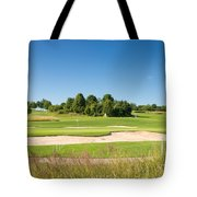 Beautiful Green Golf Course And Blue Sky Tote Bag