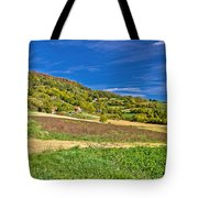 Beautiful Green Hill With Vineyard Cottages Tote Bag