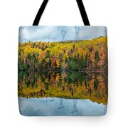 Beautiful Reflections Of A Autumn Forest In A Lake Tote Bag