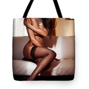 Beautiful Sexy Black Woman In Stockings Sitting On Sofa Tote Bag