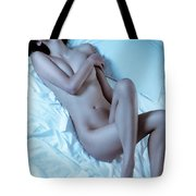 Beautiful Sexy Nude Woman Lying On White Sheets Tote Bag