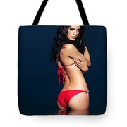 Beautiful Sexy Woman In Red Bikini In Water Tote Bag
