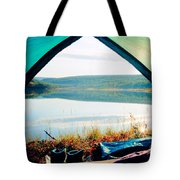 Beautiful View Of Calm Lake Looking Out Of Tent Tote Bag