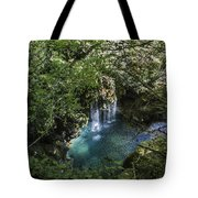 Beautiful Waterfall In The Mountains In Navarra Tote Bag