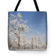 Beautiful Winter Day With Snow Covered Trees And Blue Sky Tote Bag by Matthias Hauser
