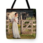 Beautiful Woman In White Dress With Parasol Tote Bag