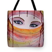 Beautiful Woman With Niqab Watercolor Painting Tote Bag