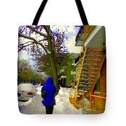 Beautiful Yellow Staircase Verdun Snow Scene Montreal Art Colors Of Quebec Carole Spandau Tote Bag