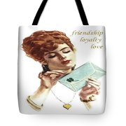 Beautiful Young Woman Holding Love Letter Vintage Vector Tote Bag