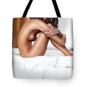Beautiful Young Woman Sitting Naked On A Bed Tote Bag