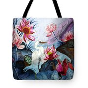 Beauty Of The Lake Hand Embroidery Tote Bag