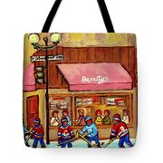 Beauty's Restaurant Paintings Of Plateau Montreal Winter Scenes Hockey Art Carole Spandau  Tote Bag