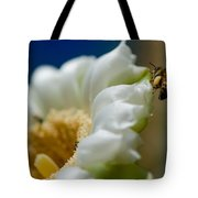 Bee Drinking The Nectar Of Saguaro Cactus Flower Tote Bag