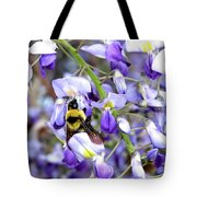Bee In The Wisteria Tote Bag