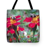 Bees On A Marigold 4 Tote Bag