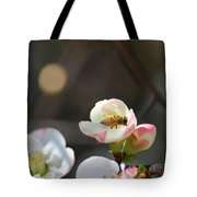 Bee On Japanese Quince Tote Bag