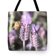 Bee On Lavender Square Tote Bag