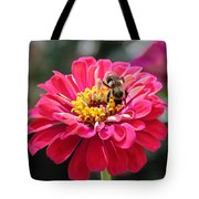 Bee On Pink Flower Tote Bag