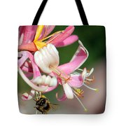 Bee On Pink Honeysuckle Tote Bag