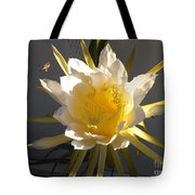 Bee Pollinating Dragon Fruit Blossom Tote Bag
