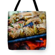 Beef Kababs On The Grill Closeup Tote Bag
