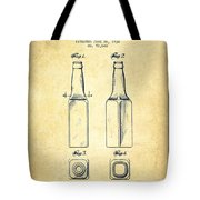 Beer Bottle Patent Drawing From 1934 - Vintage Tote Bag by Aged Pixel