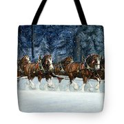 Clydesdales 8 Hitch On A Snowy Day Tote Bag