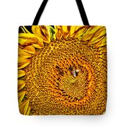 Bees On Sunflower Hdr Tote Bag