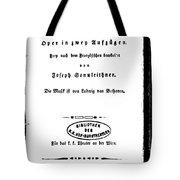 Beethoven Fidelio, 1805 Tote Bag