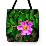 Beetle And Fly On Wild Rose Tote Bag