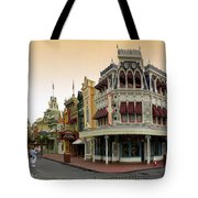 Before The Gates Open Early Morning Magic Kingdom With Castle. Tote Bag