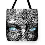 Behind Blue Eyes Tote Bag by Mo T