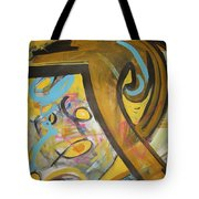 Being Easy Original Abstract Colorful Figure Painting For Sale Yellow Umber Blue Pink Tote Bag