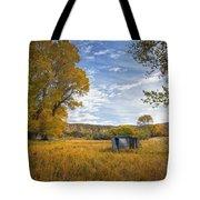 Belfry Fall Landscape Tote Bag by Roger Snyder