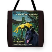 Belgian Shepherd Art Canvas Print - Creature From The Black Lagoon Movie Poster Tote Bag