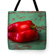 Bell Pepper On Green Board Tote Bag