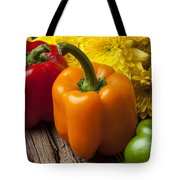 Bell Peppers And Poms Tote Bag by Garry Gay