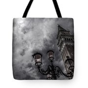 Bell Tower And Street Lamp Tote Bag