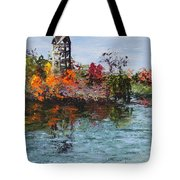 Bell Tower At The Botanic Gardens In Autumn Tote Bag