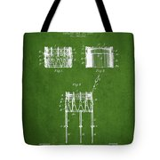 Bemis Snare Drum Patent Drawing From 1886 - Green Tote Bag