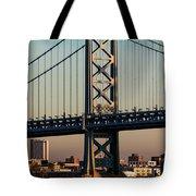 Ben Franklin Bridge Over Delaware River Tote Bag