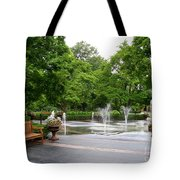 Bench And Fountain Tote Bag
