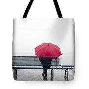 Bench And Umbrella Tote Bag