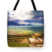 Bench At Kaikora With Approaching Storm Tote Bag