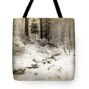Bench By Creek Tote Bag