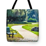 Bench In A Park With A Walkway Tote Bag